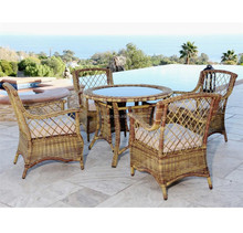 Old country style restaurant outdoor patio glass top table and chair rattan classic italian dining room sets
