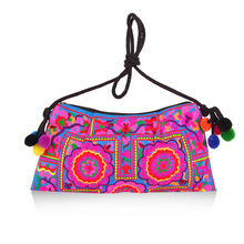 pompom woolen yarn five pink flower embroidery messenger bags