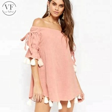 2018 latest new fashion pom women custom free sample Off Shoulder Dress