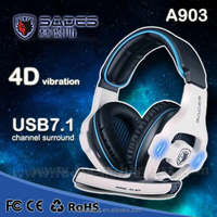 Brand Sades SA-903 Pro Gaming Headset studio headphones 7.1 Surround Sound earphone game Headphone with Microphone for PC Gamer