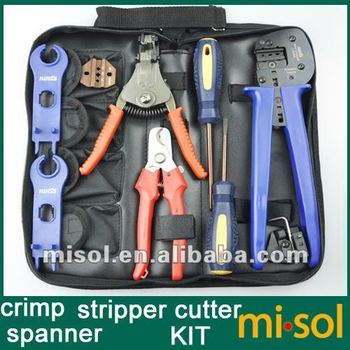 Kit of Solar PV Crimper for MC3 MC4 Connector, Crimping Connector, CRIMPING TOOL, cable cutter, screw driver