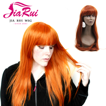 Premium synthetic hair realistic ginger red wig for woman