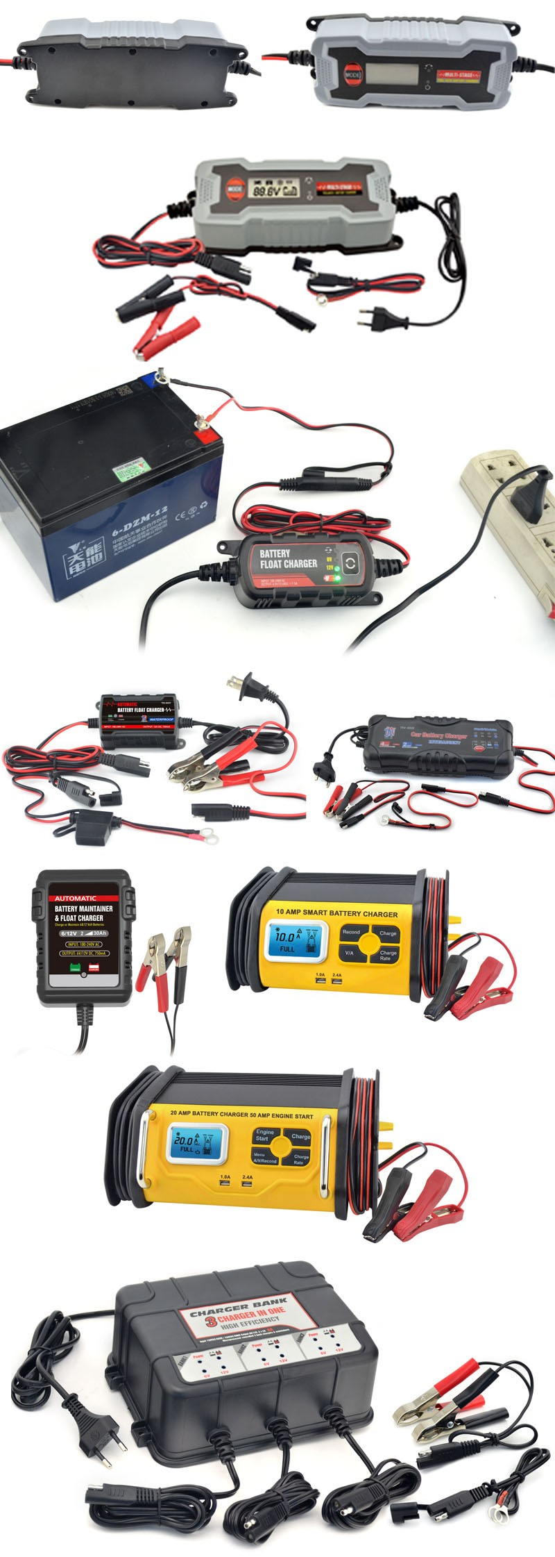 6V&12V, 0.75A Smart Battery Charger maintainer