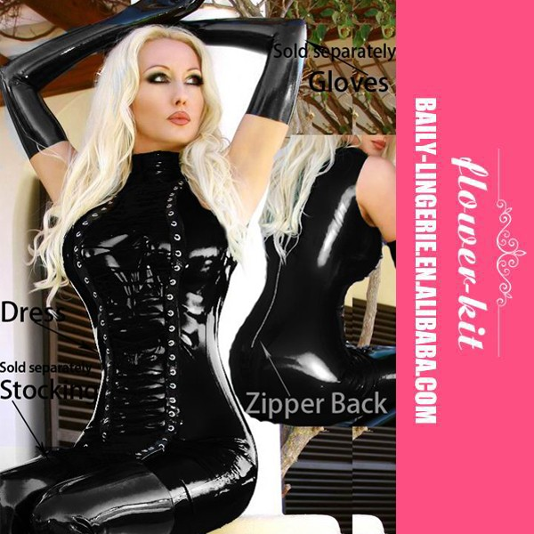 Accept Paypal Cheap Latex Catsuit Women Adult Tight Black Leather Bodysuit