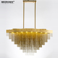 MEEROSEE Modern Luxurious Aluminum Pendant Chandeliers Light G9 Golden Metal Hanging Lamp for Hotel Project Restaurant MD85524