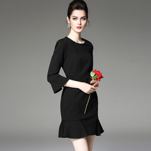 Customized Casual Lotus Leaf Shape Sleeve Elegant Official Dresses For Women