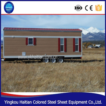 2016 pop hot sale new Flat tiny quality low cost economic wooden homes on wheels container house with wheels for sale