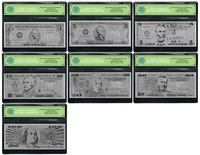 7PCS Silver Banknote Bill Set $100/50/20/10/5/2/1 US Real 999 Pure Dollar Bill in COA