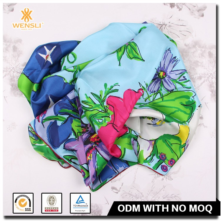 2017 Women Floral Pattern Custom Printed Classic Silk Scarf Square