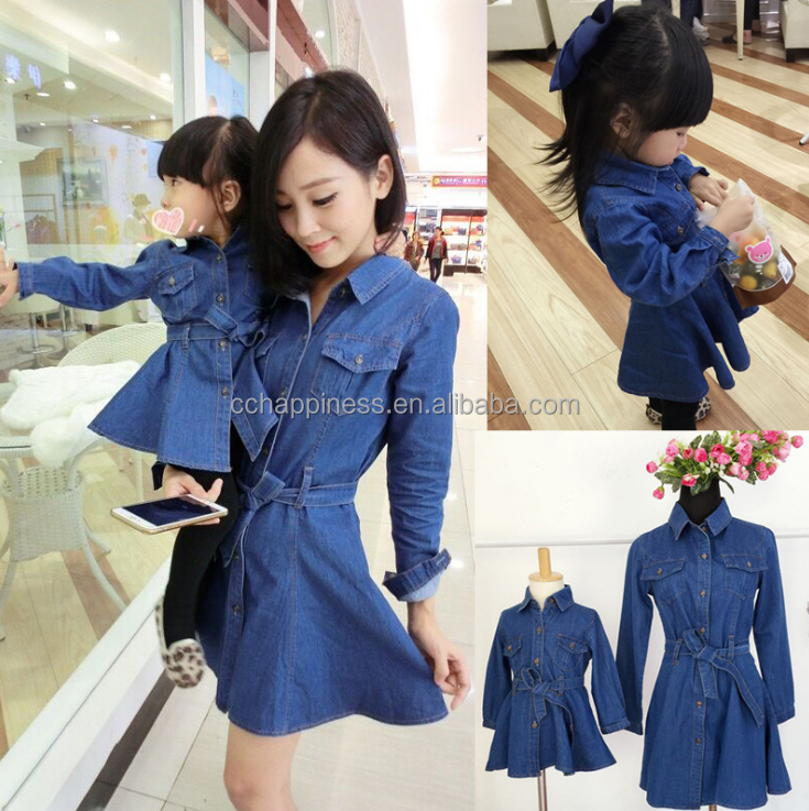 spring new arrival mommy and me dress denim long sleeve knee length dress mother and girl denim dress