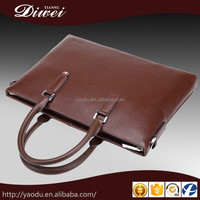 High quality multi-pocket grain genuine leather office bags for men