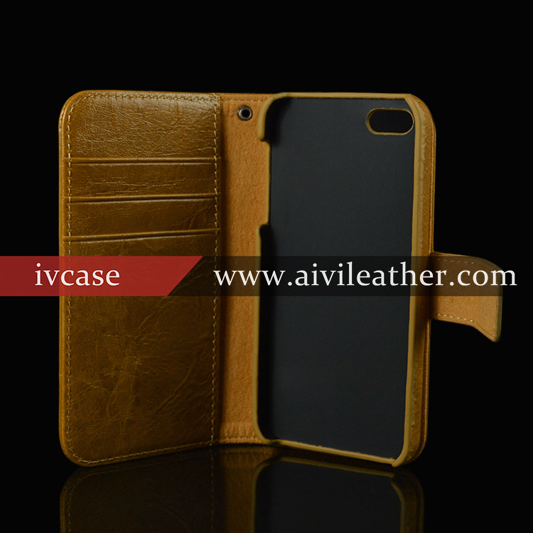 Genuine leather wallet case for iphone 5,for iphone 5 top flip genuine leather case ultral slim