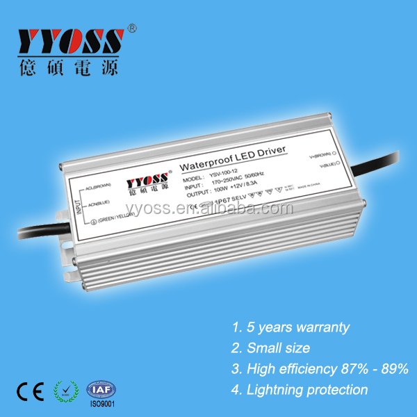 EMC PFC IP67 12V 48v constant voltage waterproof 100w led driver