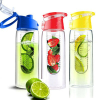 2015 Best selling portable plastic fruit infuser water bottle lemon cups with handle