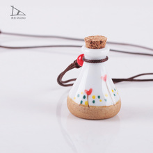 Chinese style hand painted ceramic long women necklace