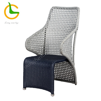 Grey weather resistant rope woven high wing back chair