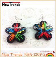 Cheap flower coconut shell earrings with colorful thread