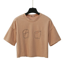 High quality new trendy women plain organic cotton wave point t shirt
