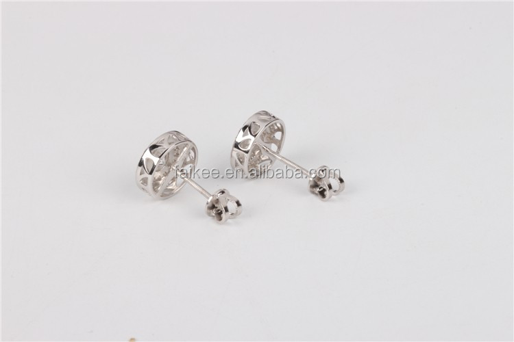 Iced out screw post and back 925 silver hip hop stud earrings