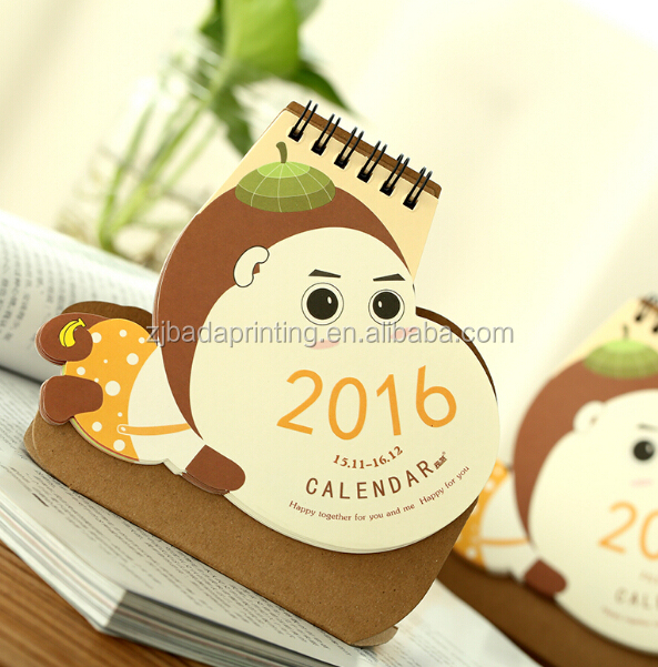 Creative 2016 Desk Calendar/Custom Sprial Table Calendar Printing
