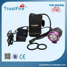 2000 Lumen D008 3T6 LED High Power Bicycle Light with 3x Cree XM-L T6 LED Bike Light+8.4v 4000mAh Battery Pack+AC Charger