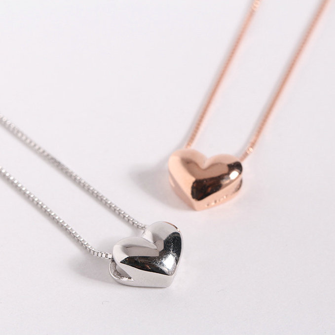 2019Valentines Day Mini Pendant Couples Love Necklace Three Dimensional Rose Gold Plated 925 Sterling Silver Heart