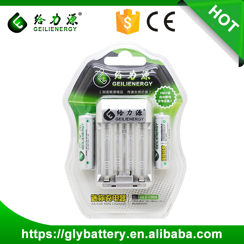 Geilienergy C-809 AA 1200mah AAA Battery Mini Chargers With LED