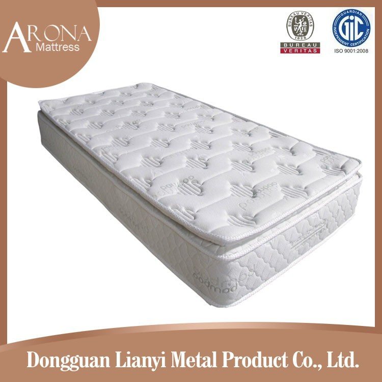 Single bamboo pillow top latex pocket spring mattress from Chinese manufaturer
