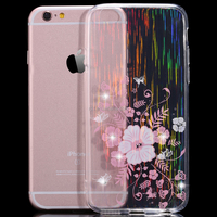 ultra slim light weight snagged wire drawing grain flower bling bling rhinestone soft tpu bumper case for iphone 6 6s 6s plus