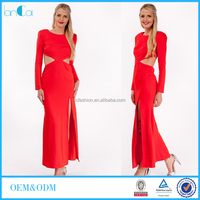 Wholesale OEM Long Sleeve Backless Maxi Dress With Side Slit And Cut-out Oriental Wedding Dress