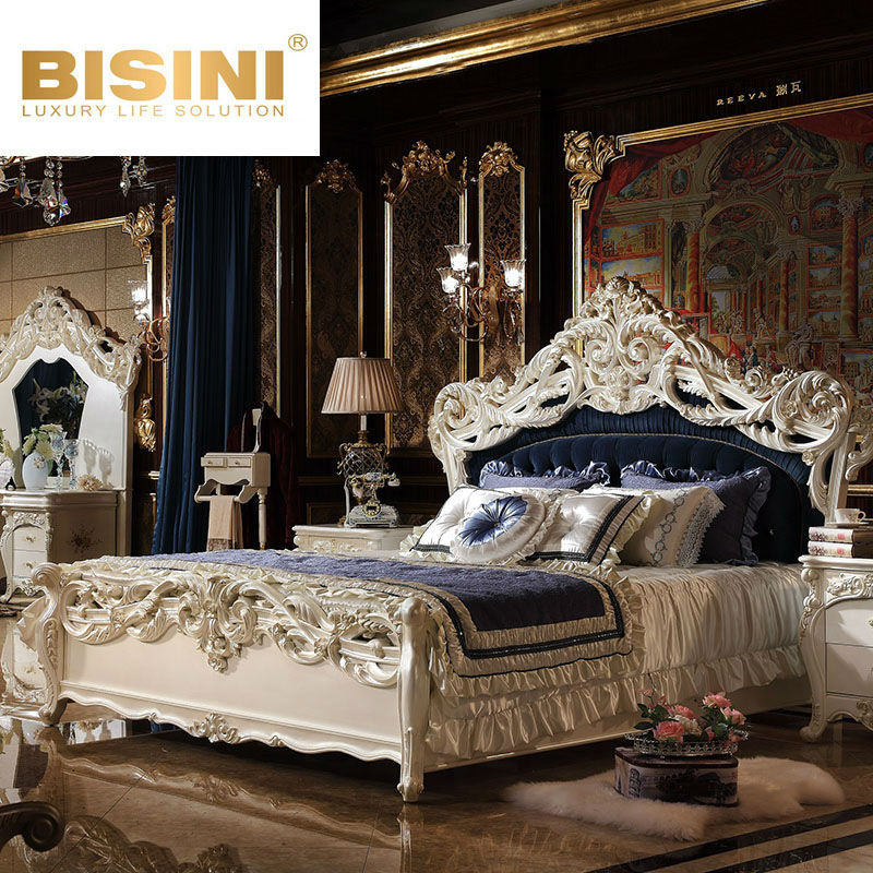 Bisini Luxury Hand Carved French Style Classic White Bedroom