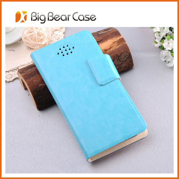 universal leather wallet leather case for huawei ascend p6