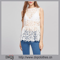 2017 new designs wholesale price stylish summer work clothing women White Polyester Hollow Out Lace Peplum Shell Top