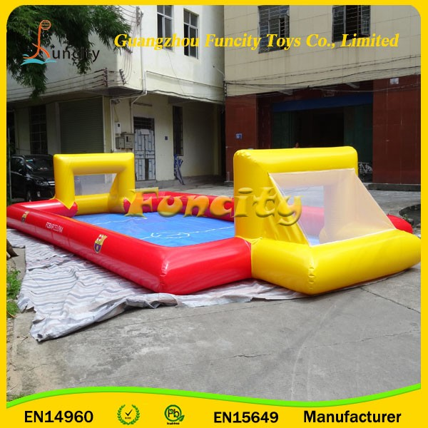 Team Sports Games Inflatable Soap Soccer Field , Water Soap Football Field , Portable Soccer Fields