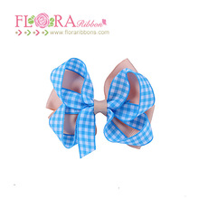 Hot sale fashion girls lovely plaid boutique hair ribbon bows