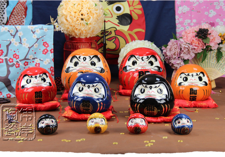 Japanese style daruma ceramic lucky cat saving box ceramic piggy bank