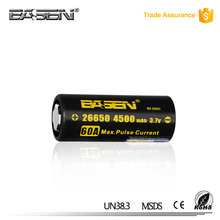 Basen 26650 4500mah 3.7v 60a Li-ion Rechargeable Battery 26650 Battery for Box Mod
