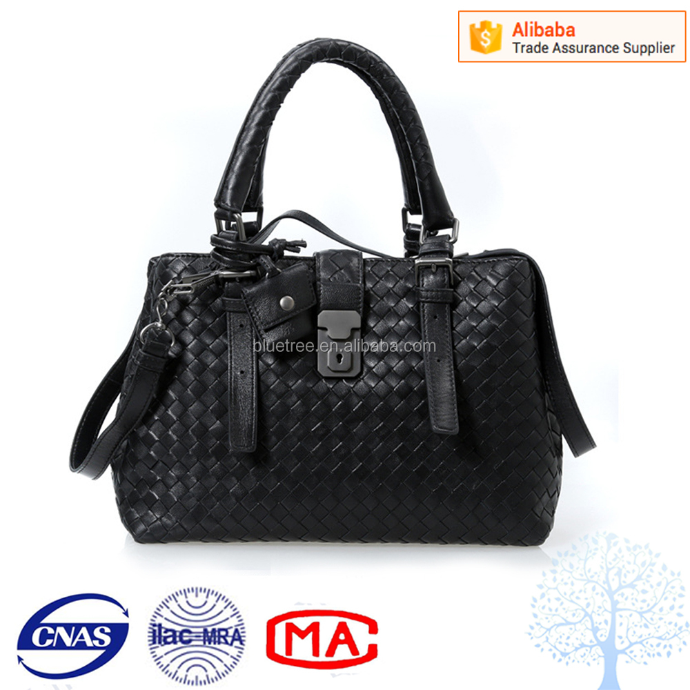 Elegant design ladies customized handmade leather knitting bag