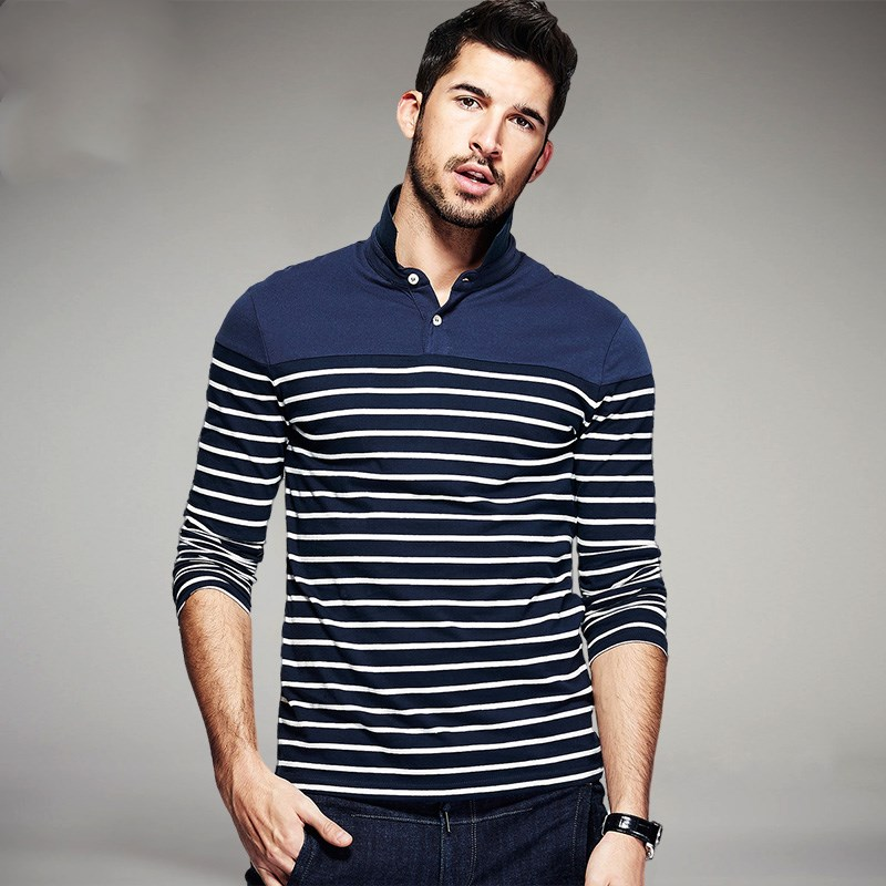 Autumn Men Fashion Polo T Shirts 100% Cotton Stripe Black Blue Brand Clothing Man's Long Sleeve Slim Tops Plus Size