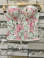 B11683A Women embroidery Lace Crop Top Sexy lady Camii Straps Bustier Cropped Tops Padded Bra Vest Tanks Tops