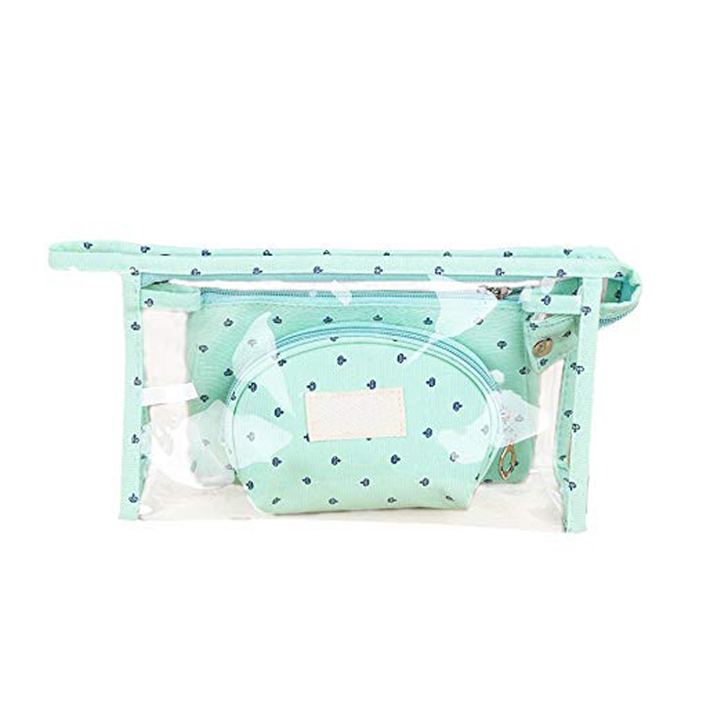 Travel Toiletry Pouch Cosmetic Clear Organizer Makeup Bag Set With Zipper