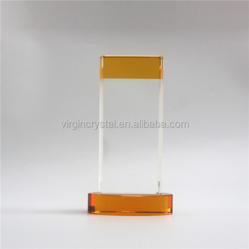 Wholesale amber color k9 crystal glass awards trophy with cylindrical base