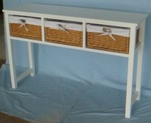wooden table with 3 wicker drawers