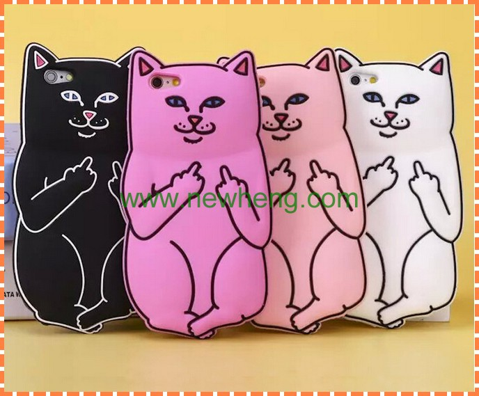 New design Pocket Cats Silicone Middle finger cat Phone Case For iPhone6