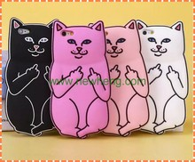 New design Pocket Cats Silicone Middle finger cat Phone Case For iPhone 6