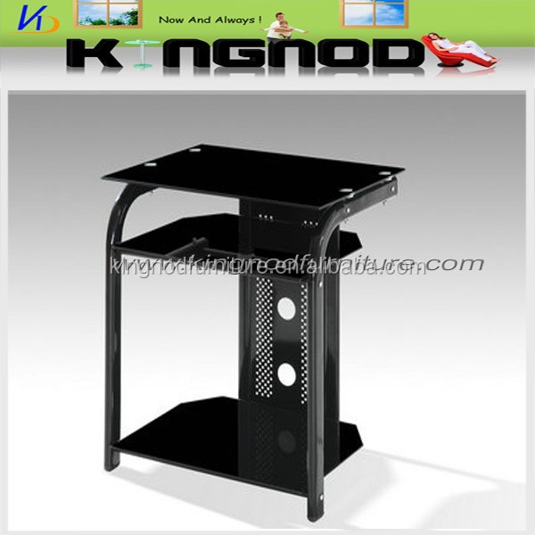 cheap hot sale modern design tempered black glass wrought iron tv stand