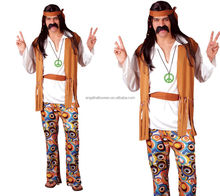 Woodstock mens hippie halloween fancy dress costume 60s 70s hippy outfit AGM2712