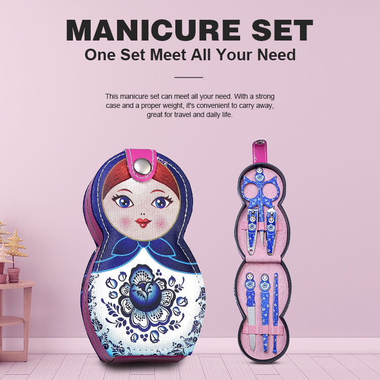 Beautiful Gift Cute Doll Pattern Case Nail Clippers Kit Manicure Tools Nail File Scissors Nail Care Tools Manicure Set For Girls