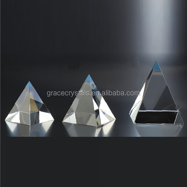 Blank glass paperweight three sizes clear glass pyramid paperweight