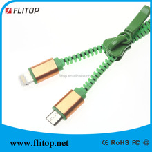 Manufacture durable 2in1 zipper usb cable for phone charging